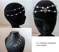 Lunar Agate, 2 in 1 necklace and headband by yinco