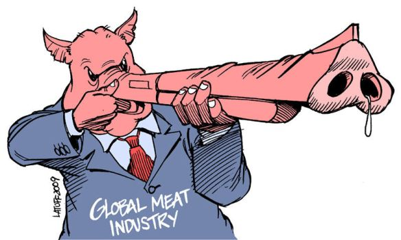 Swine flu and Meat Industry by Latuff2