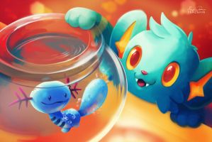Shinx and Wooper by TsaoShin