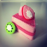Strawberry Felt Cake by bibiluv