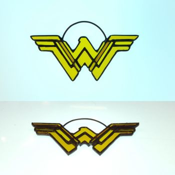 New Wonder Woman Logo Stained Glass Ornament by DarkeVitrum
