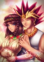 comm:: Teana and Pharaoh Atem by Axsens