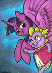 Twilight and Spike Marker Card by reaperfox
