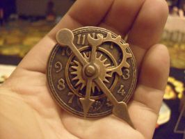 Steampunk Copper Clock Badge by Michi01