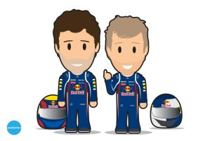 Mark Webber and Seb Vettel by Indieboy2