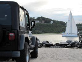 Jeep And Sailboat by TheAire