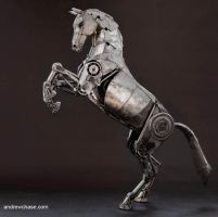 Articulated Metal Horse rearing by Andrew-Chase