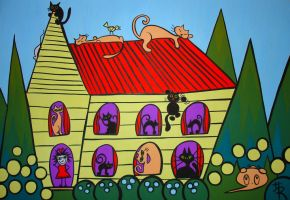 meanwhile at the crazy cat ladies house by essencestudios