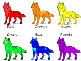 Rainbow Wolves by jesspotter