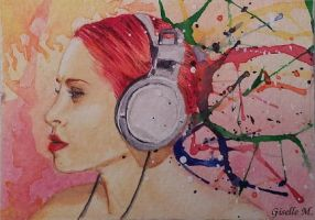 Music Splatters - watercolor by Giselle-M