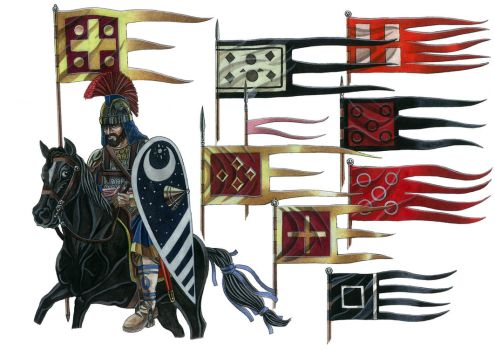 Flags/ battle standards of medieval Roman Empire by AMELIANVS