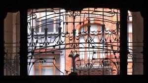View through an iron grille by Smaragd01