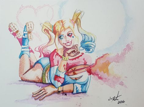 Pinup Harley Quinn watercolors by discipleneil777