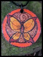 Orange Butterfly Pendant by benwhoski