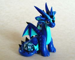 Blue Mini Dice Dragon by DragonsAndBeasties