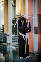 Rukia Cosplay: Mid-action by firecloak