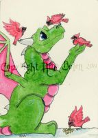 Feeding the Birds ACEO by The-GoblinQueen