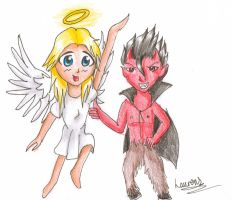 contest prize: angel and devil by LaurenLuvsAnime