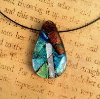 Teardrop Collage Fused Glass Pendant by FusedElegance