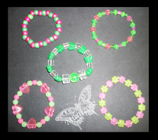 Green and Pink Themed Kandi by Kandifiedkitten