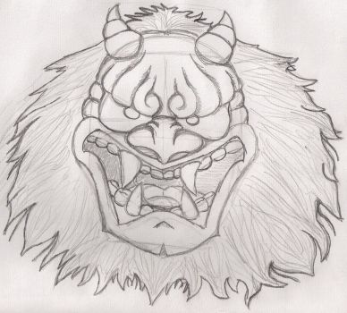 Noh mask tattoo design by Shadows-Speak-To-Me