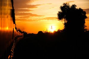 Indian Train Sunset by esbenlp