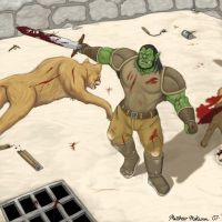 Thrall Killing Mountain Cougar by Kanaru92