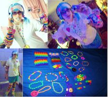 Rave costume and kandi by frozenjellounicorns