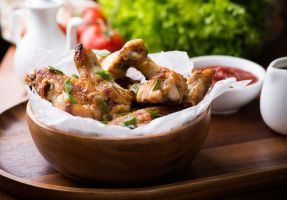 Fried chicken wings with sauces by BeKaphoto