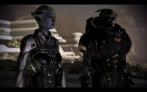 ME3 Liara and Garrus on Sur'Kesh by chicksaw2002