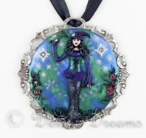 I Put A Spell On You Goth Witch Pendant by DeidreDreams