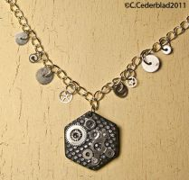 Hexagon steampunk necklace by skuggsida