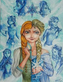 Anna and Elsa, sisters and different - 2nd version by MlleBeckieR