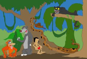 The Jungle Book Cast as Friends: Scratching by SammyD91