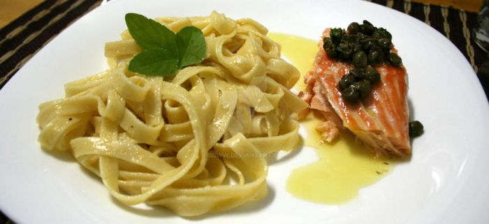 spaghetti al limone and salmon by duww