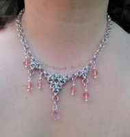 pink and silver beaded chainmaille necklace by TerraNovaJewels