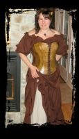 leather overbust corset front view by Lagueuse