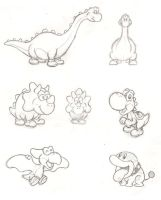 Yoshi's friends sketches by mattdog1000000