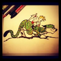 HE-MAN x Calvin and Hobbes by teflonmonkey