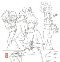 Happy Birthday Naruto lineart by sharingandevil