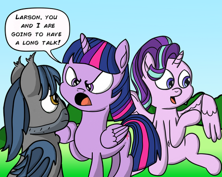 M.A. Larson faces an Angry Twilight Sparkle by daimando