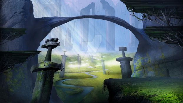 Field of Valhalla matte painting by meetzbg