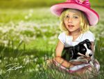 Little Girl and puppy by RamaChan