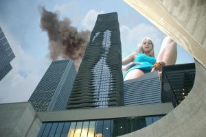 Adrianna stepping on and smashing the city by The-WonderSlug