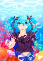 Bottle Miku: Coral Reefs by RiddleMaker