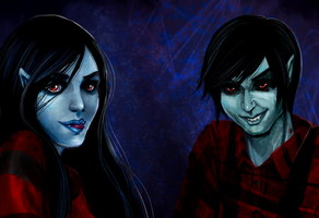 Marceline and Marshall Lee by Berserk-Cyborg-Panda