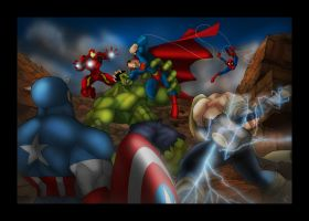 Superman VS The Avengers by Helmsberg