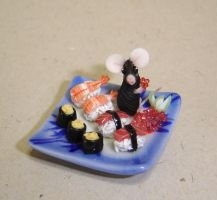 Mouse and sushi 2 by Fairiesworkshop