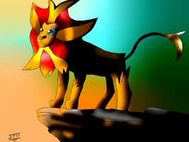 The Pyroar King by JackFrostOverland