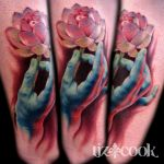 Hand and Lotus by LizCookTattoo